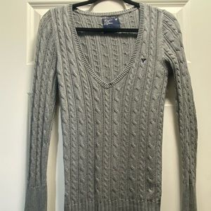 Cable Knit Long Sleeve Sweater -Grey